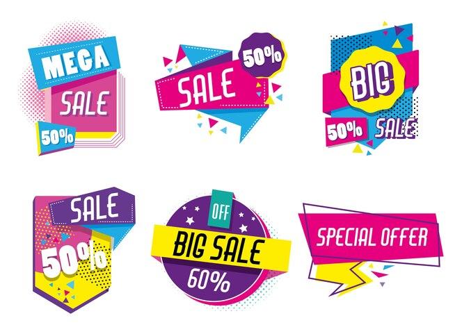 Conjunto de colección de carteles de compras de venta