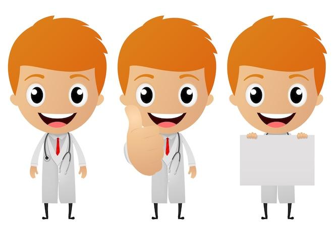 Conjunto de colección de dibujos animados joven doctor