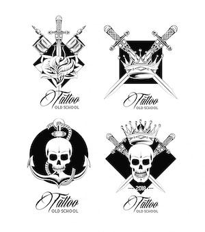 Conjunto de colección de emblemas de diseño de tatuaje