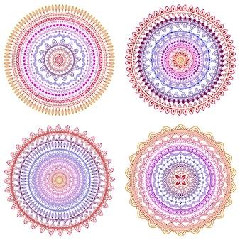 Conjunto de coloridos mandalas vectoriales