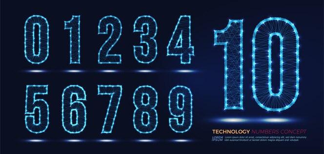 Conjunto de concepto de red de tecnología de números.