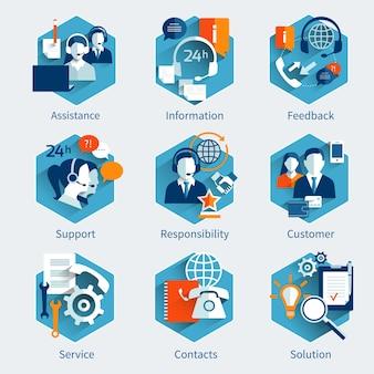 Conjunto de concepto de servicio al cliente