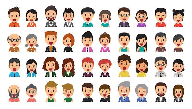 Conjunto de dibujos animados de vector de diversos iconos de avatar de personas felices