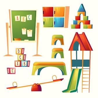 Conjunto de dibujos animados jardín de infantes, juegos infantiles. educación preescolar