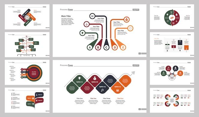 Conjunto de diez diapositivas de flujo de trabajo