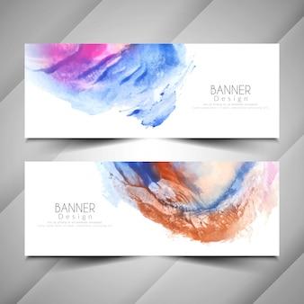 Conjunto de diseño de banners de estilo moderno acuarela abstracta