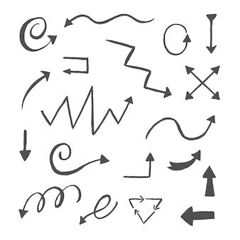 Conjunto de diseño de flecha dibujada a mano