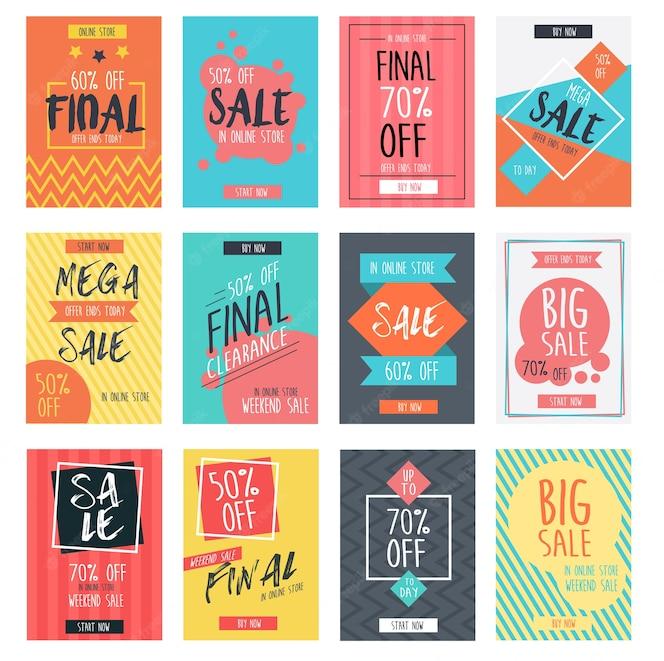 Conjunto de diseño de plantilla de banners de venta moderna