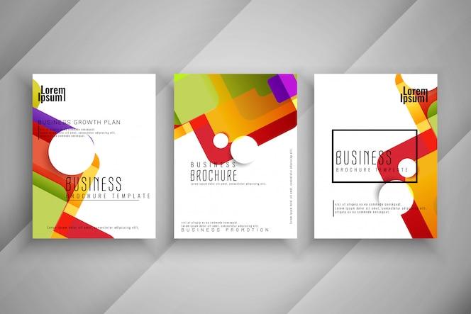 Conjunto de diseño de plantilla de folleto comercial colorido abstracto