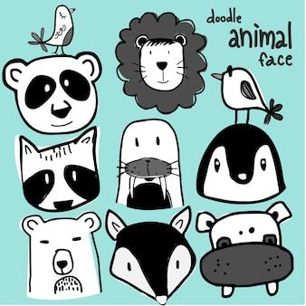 Conjunto de doodle de cara de animal salvaje