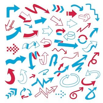 Conjunto de doodle de flecha de vector sobre fondo blanco