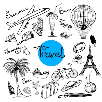 Conjunto de doodle de viaje