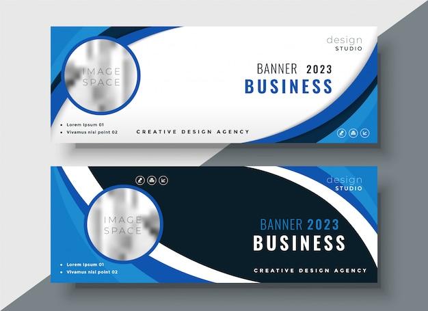 Conjunto de dos diseño de banners de negocios corporativos profesionales