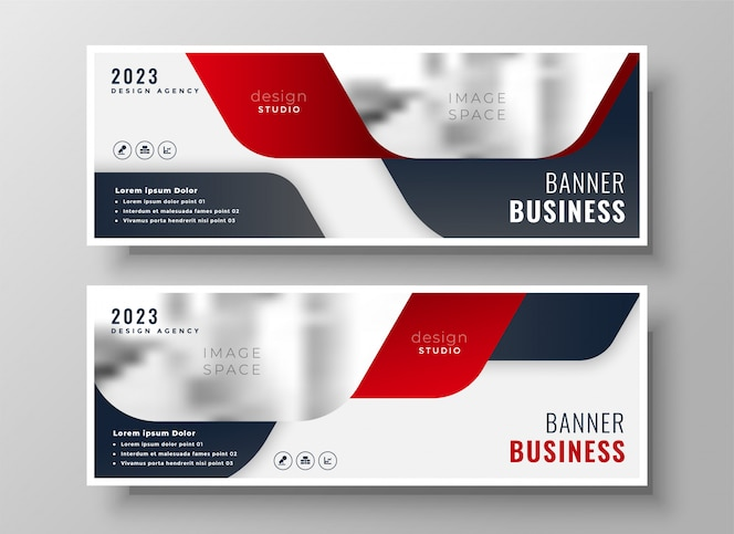 Conjunto de dos pancartas de negocios en tema rojo