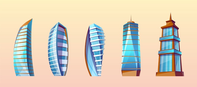 Conjunto de edificios modernos en estilo de dibujos animados. rascacielos urbanos, exterior de la ciudad