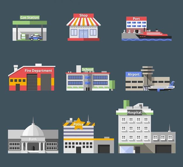 Conjunto de edificios planos del gobierno