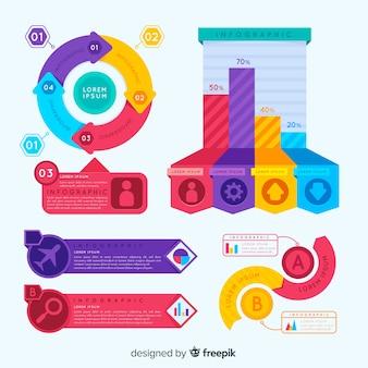 Conjunto de elementos coloridos infografía