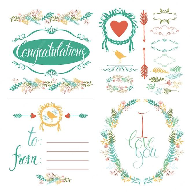 Conjunto de elementos de diseño y tarjeta de felicitación