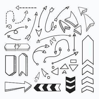 Conjunto de elementos de flecha cruda mano.