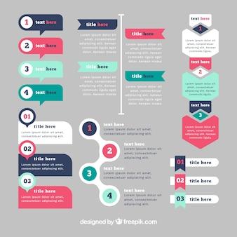 Conjunto de elementos de infografía con colores diferentes