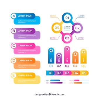 Conjunto de elementos de infografía en diferentes colores