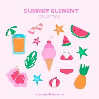 Conjunto de elementos de verano en estilo hecho a mano