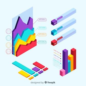 Conjunto de elementos infográficos con vista isométrica