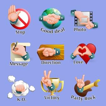 Conjunto de emblemas de gestos sociales web
