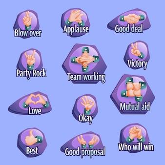 Conjunto de emblemas de gestos sociales