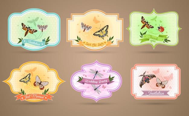 Conjunto de emblemas de insectos