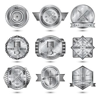 Conjunto de emblemas de metal de taller de reparación