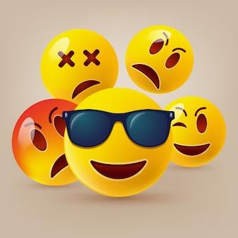 Conjunto de emoticones lindos
