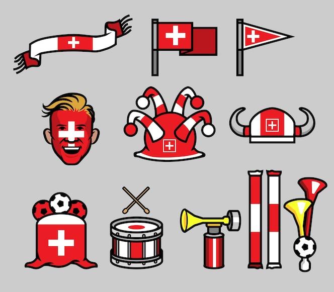 Conjunto de engranaje de fútbol partidario de suiza