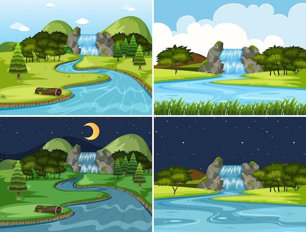 Conjunto de escenas de noche y día de cascada