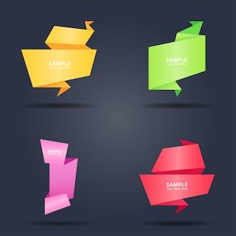 Conjunto de estilo abstracto colorido origami banderas de papel