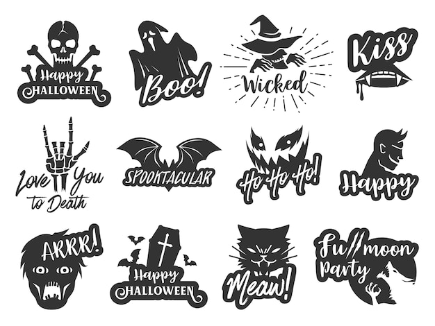 Conjunto de etiqueta engomada tipográfica de halloween