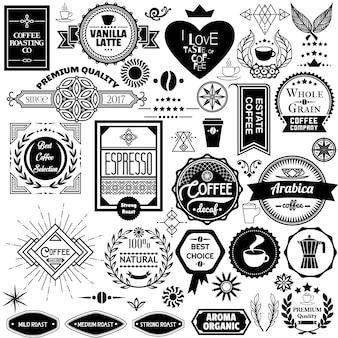 Conjunto de etiquetas y pegatinas de café
