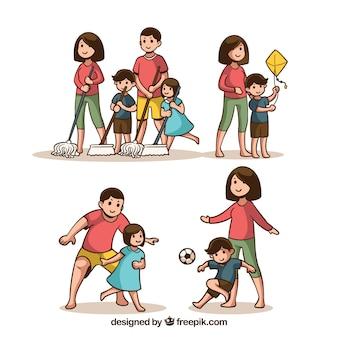 Conjunto de familias dibujadas a mano haciendo distintas actividades