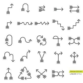 Conjunto de flecha en icono de estilo lineal