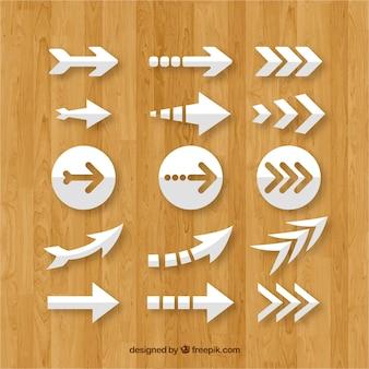 Conjunto de flechas coloridas para marcar en estilo plano