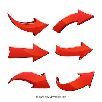 Conjunto de flechas para marcar en estilo realista