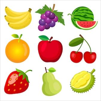 Conjunto de frutas para niños aprendiendo palabras y vocabulario.