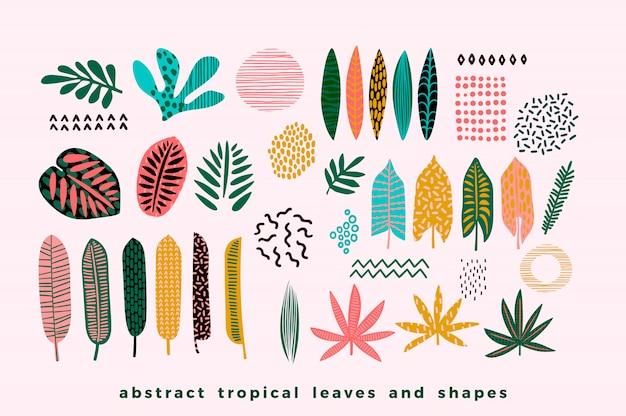Conjunto de hojas tropicales abstractas