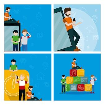 Conjunto de hombres jóvenes usando tarjetas de aplicaciones móviles