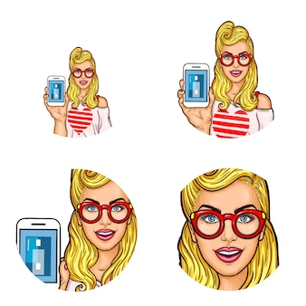 Conjunto de icono de avatar redondo del arte pop para los usuarios de las redes sociales, blogs, iconos de perfil