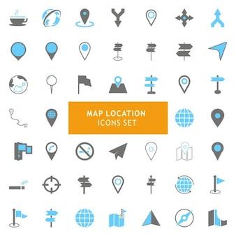 Conjunto de iconos acerca de los mapas