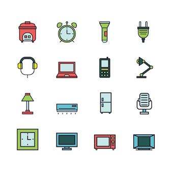 Conjunto de iconos coloridos electrodomésticos