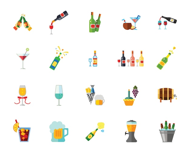 Conjunto de iconos de alcohol