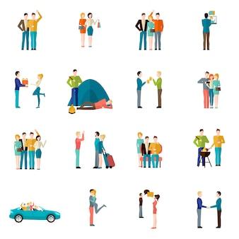 Conjunto de iconos de amigos