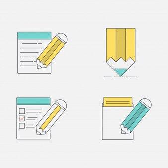 Conjunto de iconos de arte de línea. nota de escritura de lápiz o lista de tareas.